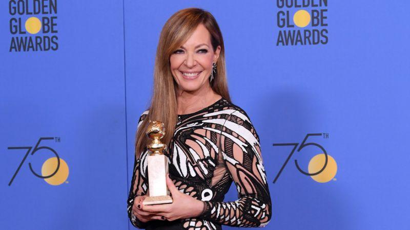 ALLISON JANNEY THANKS TONYA HARDING DURING GOLDEN GLOBES WIN
